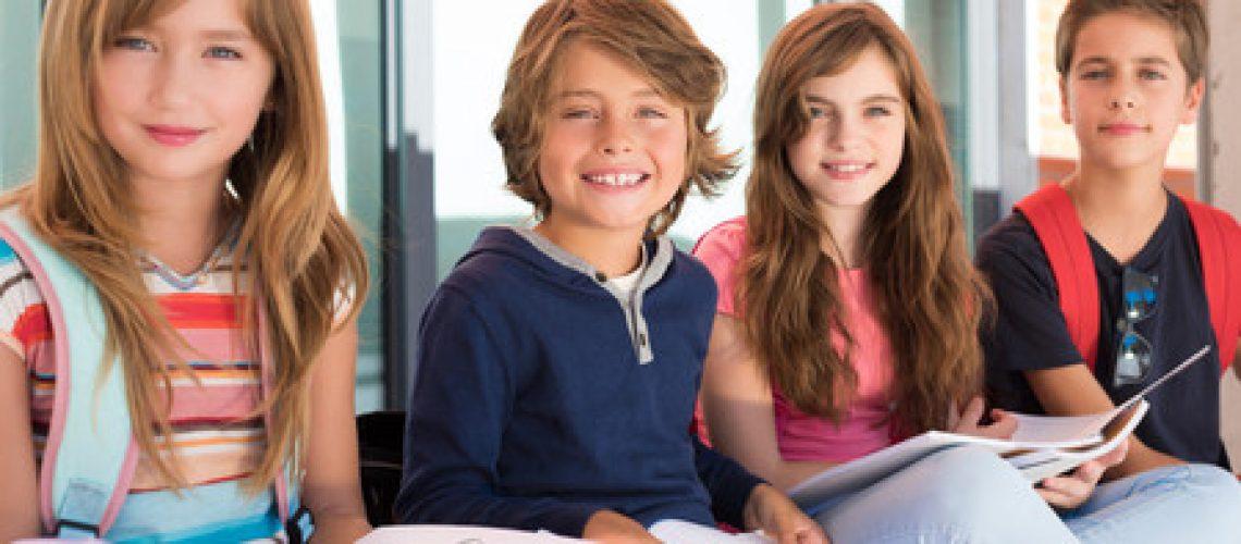 46734625 - group of happy little school kids in school