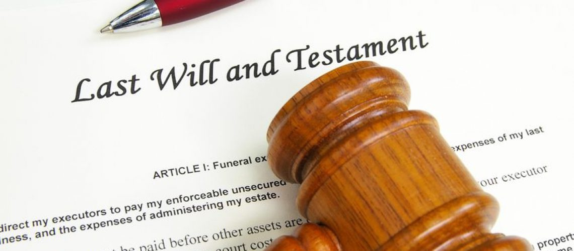 7560902 - last will and testment document with gavel and pen